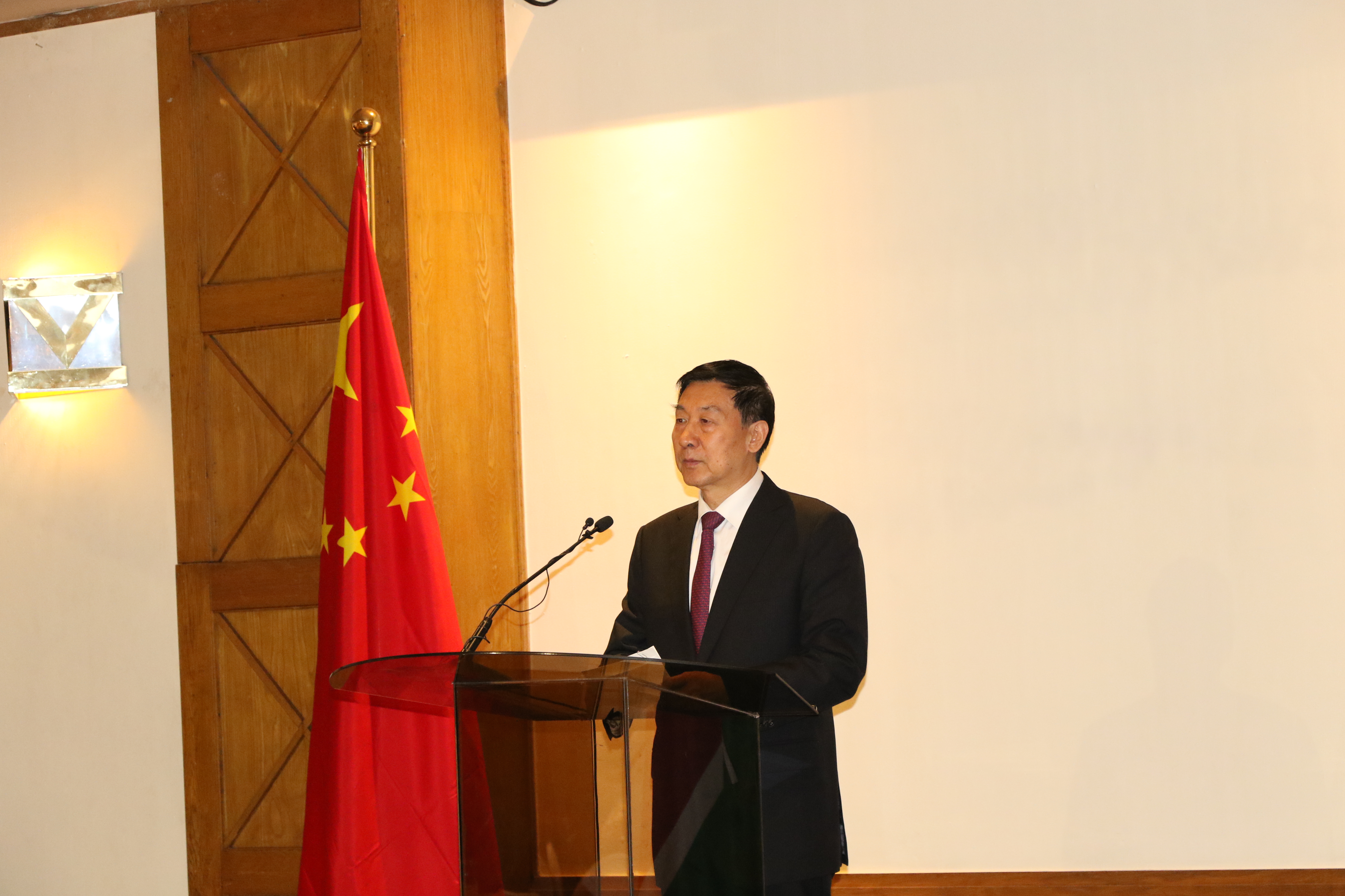 State Councilor Wang Yong of the People's Republic of China delivers a speech