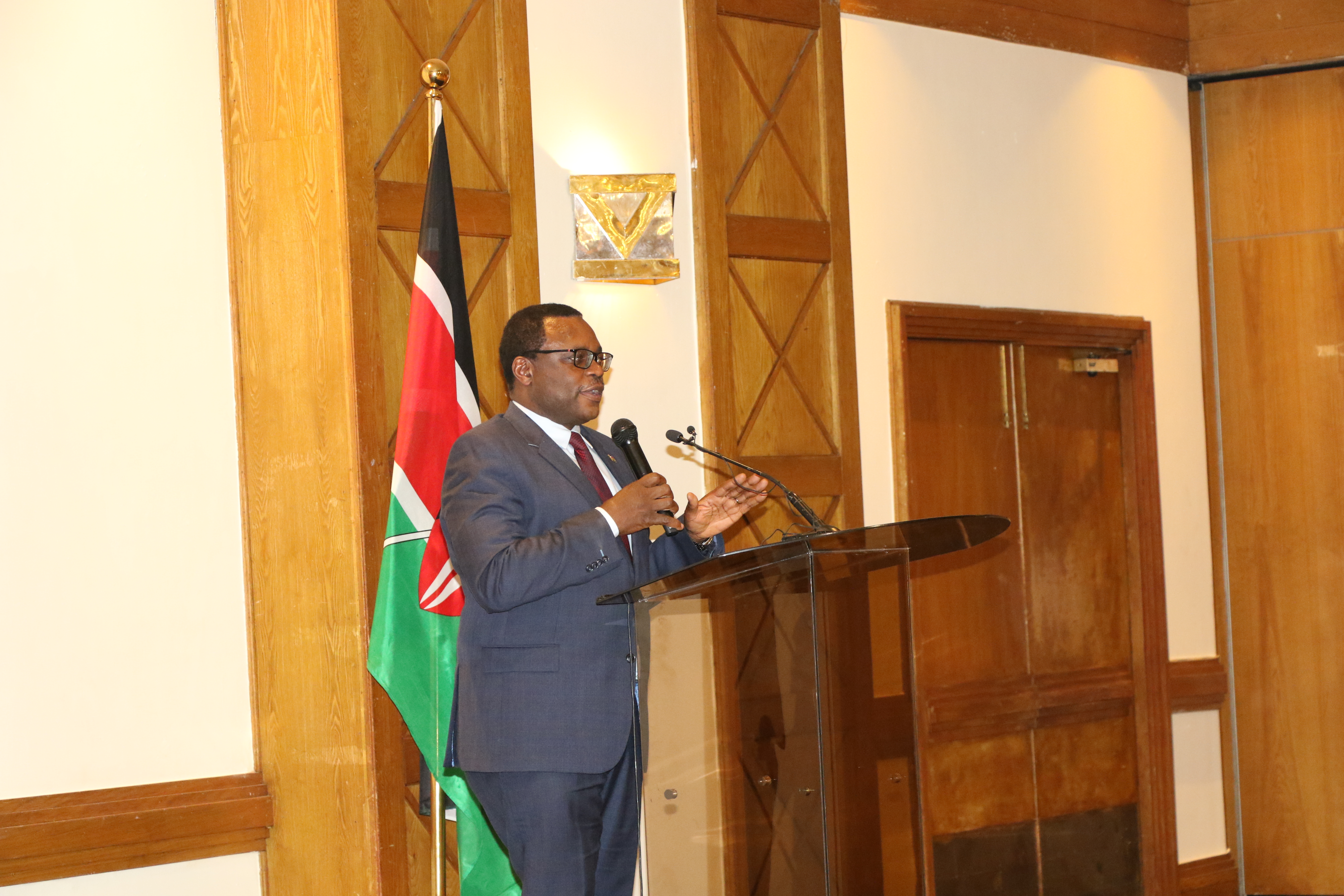 Mr. Lusaka, Senate Speaker of the Republic of Kenya delivers a speech